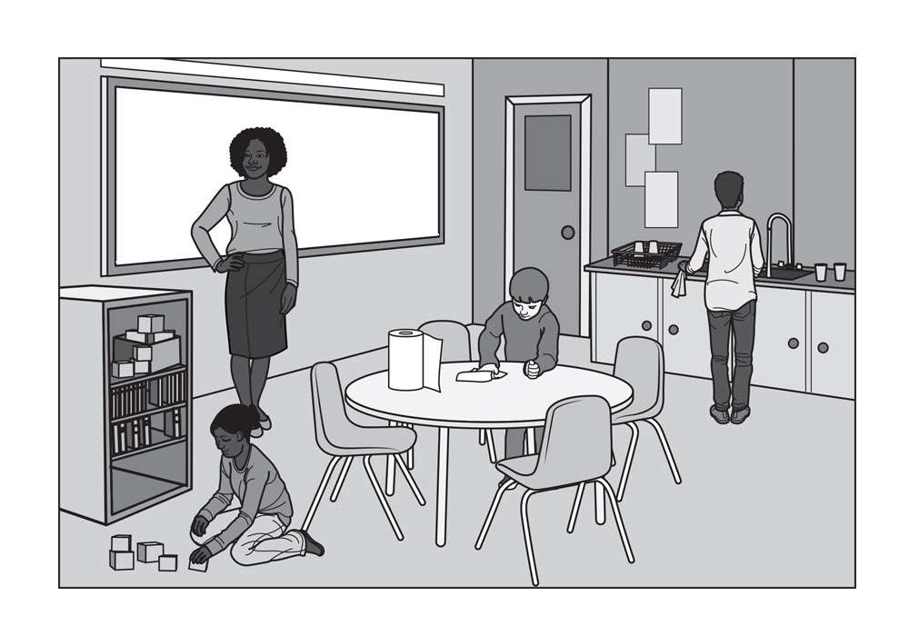 Classroom Setting Editorial Illustration