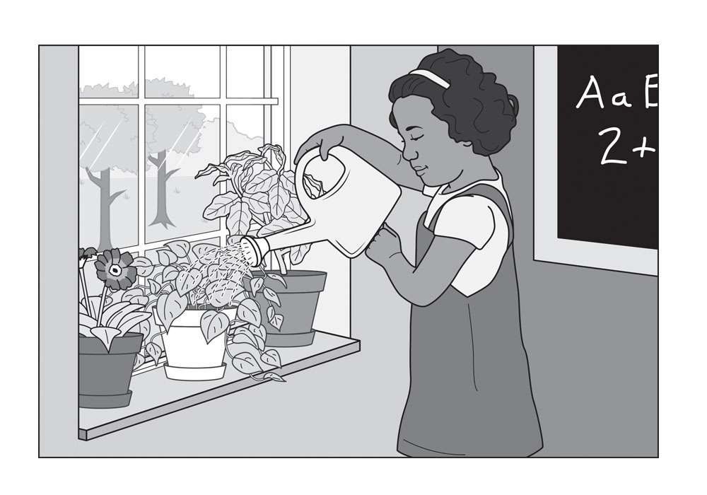 Girl Watering Plants Editorial Illustration