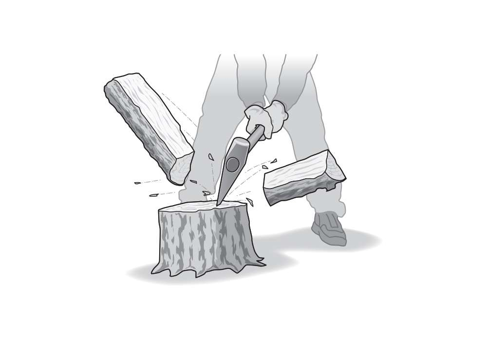 Splitting Wood Editorial Illustration