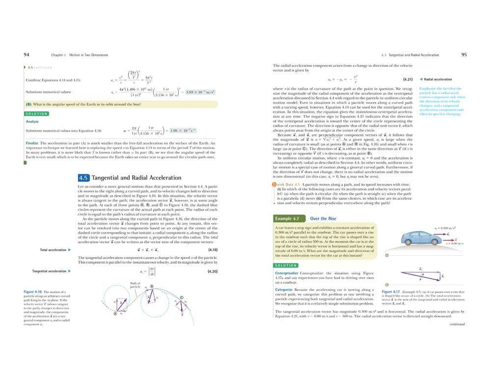 Tangential & Radial Acceleration Page Layout Design