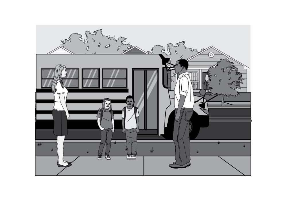 Getting off School Bus Editorial Illustration