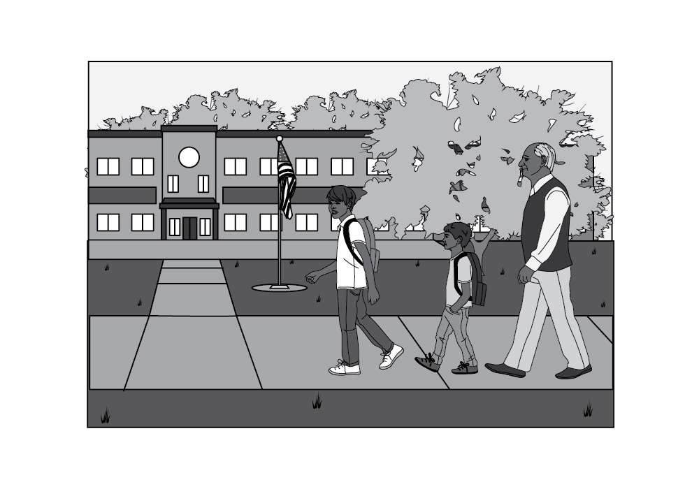 Editorial Illustration of Walking to School